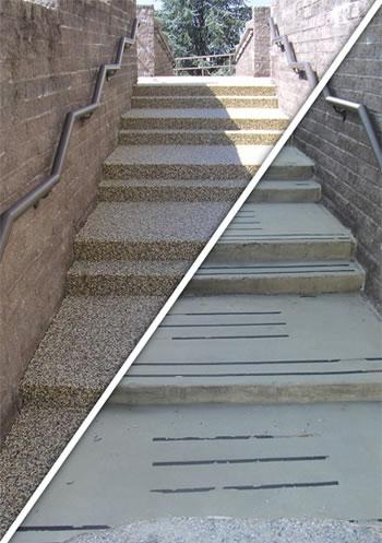 Vertical epoxy coating used on steps